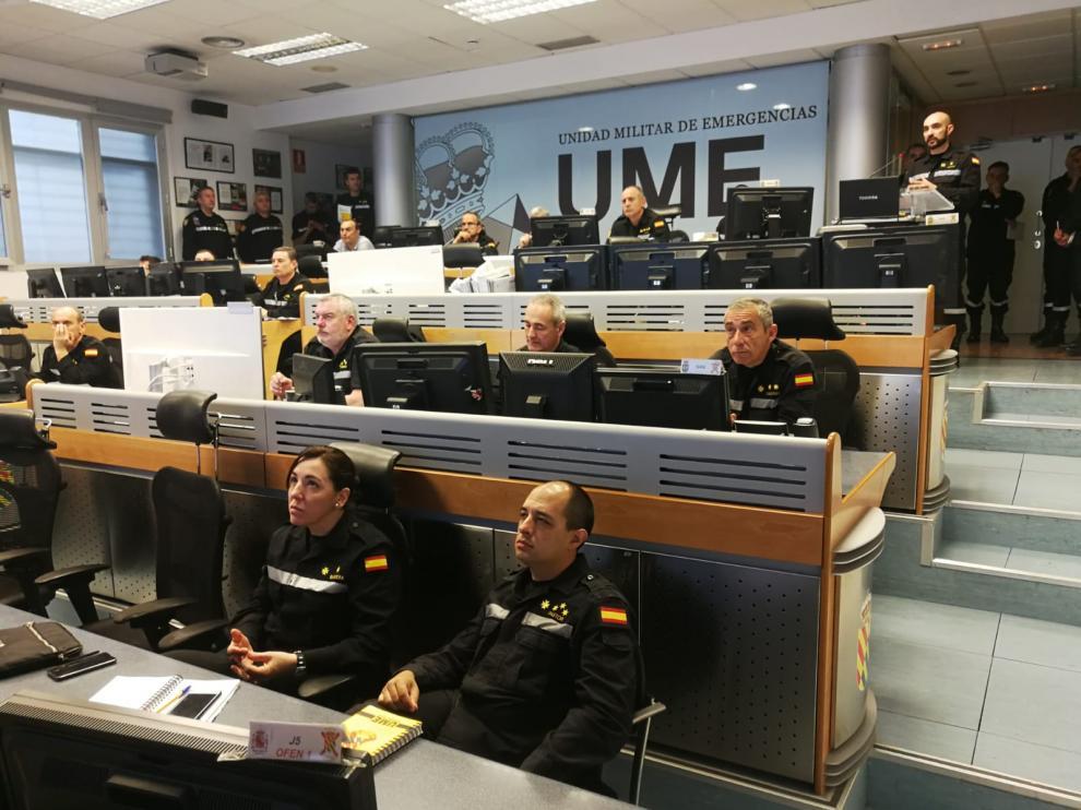Segunda jornada del simulacro de la UME en el Pirineo.