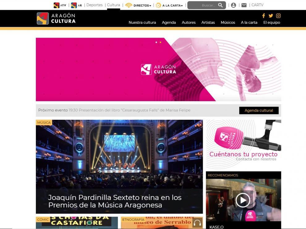 Imagen de la web 'Aragón Cultura', que ha estrenado la CARTV esta mañana.