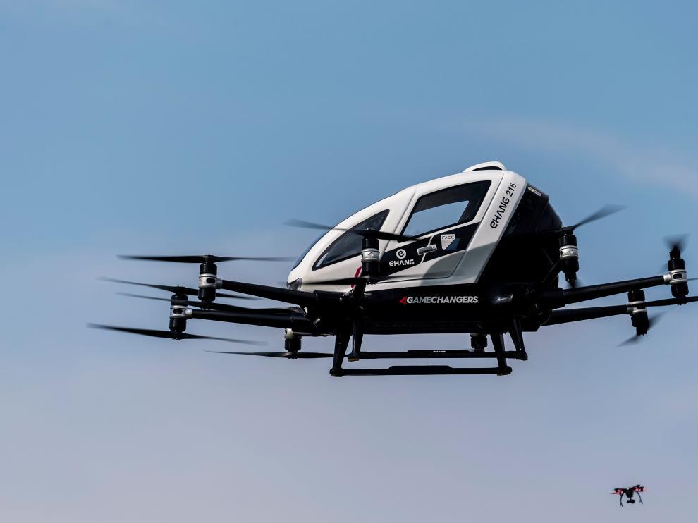 El dron durante su presentación este jueves, en Viena.