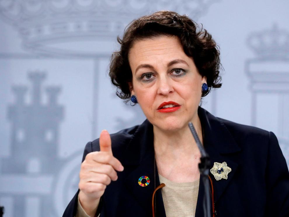 Magdalena Valerio, ministra de Trabajo, este viernes tras el consejo de ministros.