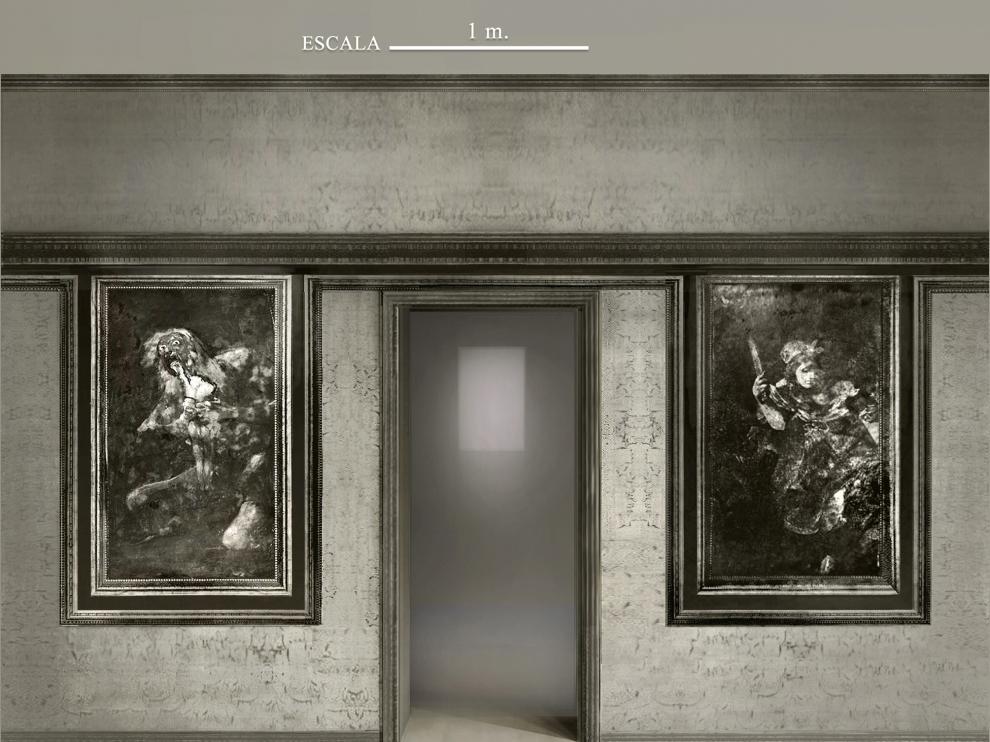 'Saturno' y 'Judith y Holofernes', tal y como las veía el visitante en la planta calle de la Quinta del Sordo.