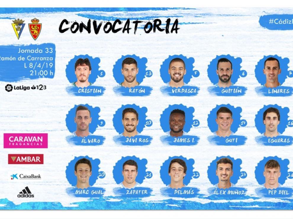 Lista con los 18 convocados del Real Zaragoza para el partido de este lunes en Cádiz.