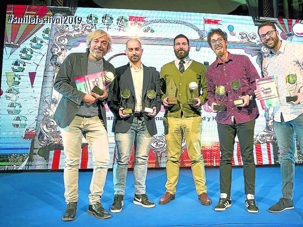 Alberto Martínez, Jesús Piazuelo, Alejandro Gracia y el dúo Cómico Jajajers.
