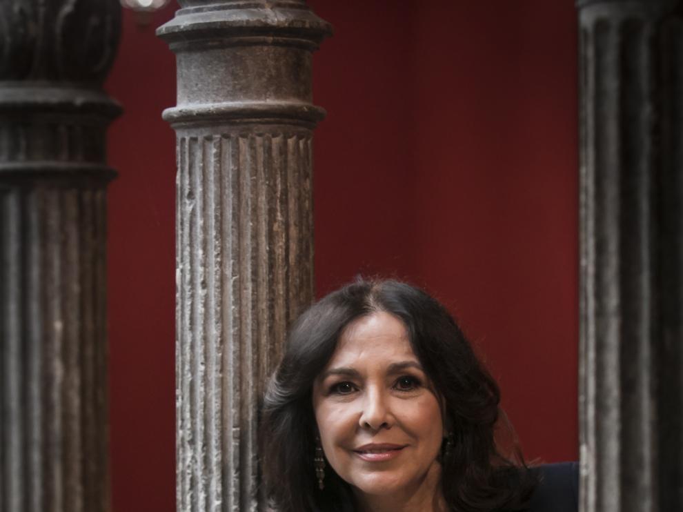 Isabel Gemio, en el Patio de la Infanta de Zaragoza.