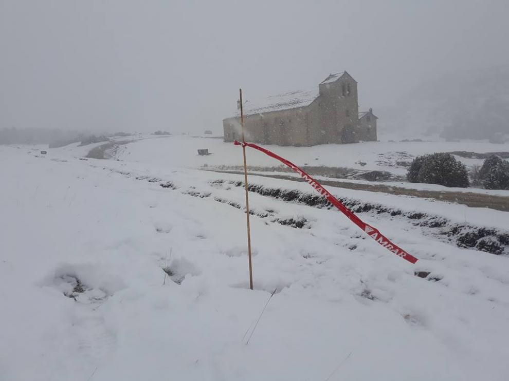 La nieve fue protagonista en el cross de Osán el pasado domingo.