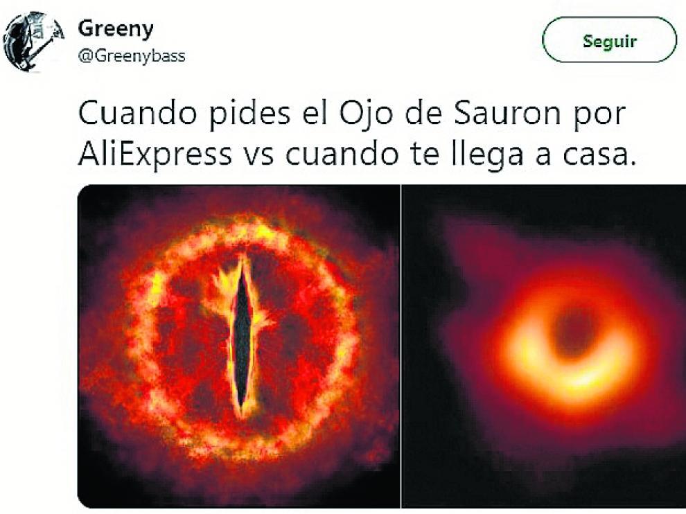 Uno de los memes con el agujero negro, haciendo referencia a Sauron.