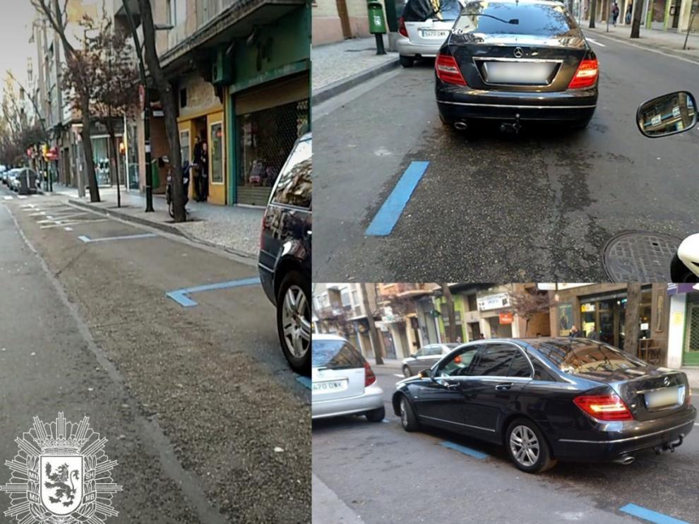El conductor dejó el coche fuera de la zona azul.