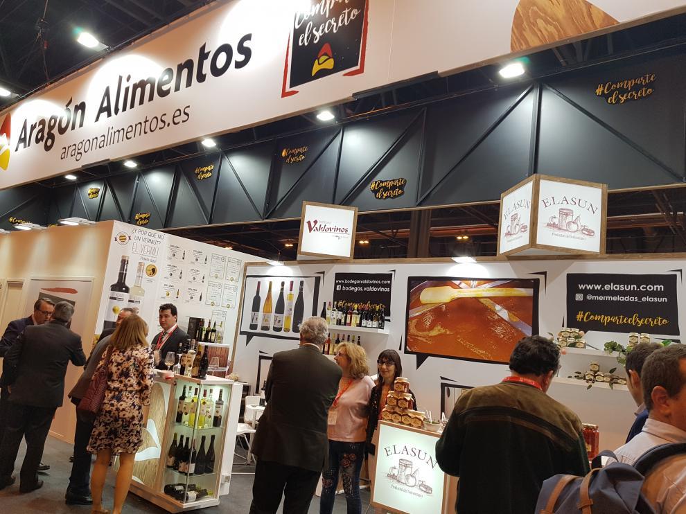 El stand Aragón Alimentos alberga productos de alta calidad de 40 empresas aragonesas.
