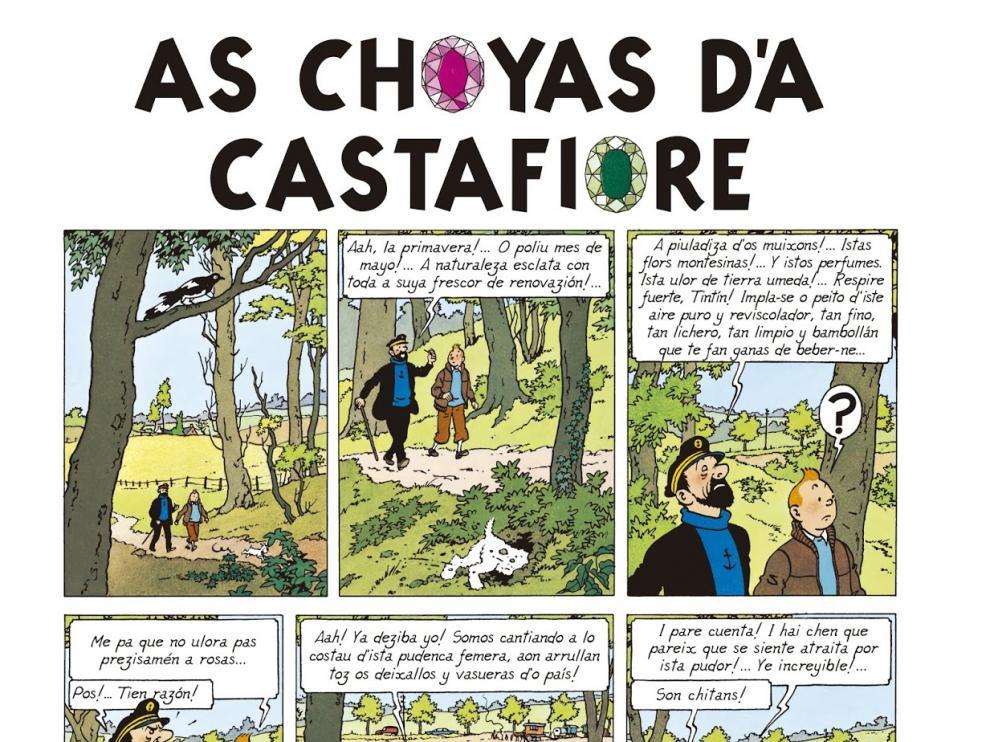 Tintín ya charra aragonés en 'As choyas d'a Castafiore'.
