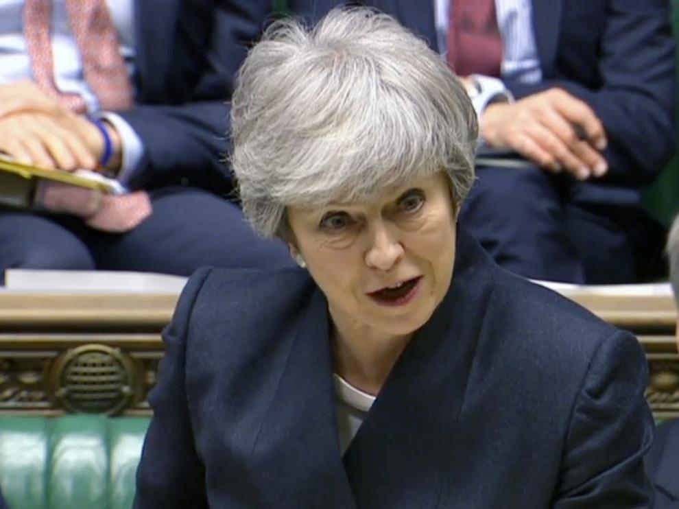 La primera ministra británica, Theresa May, este jueves en la Cámara de los Comunes.