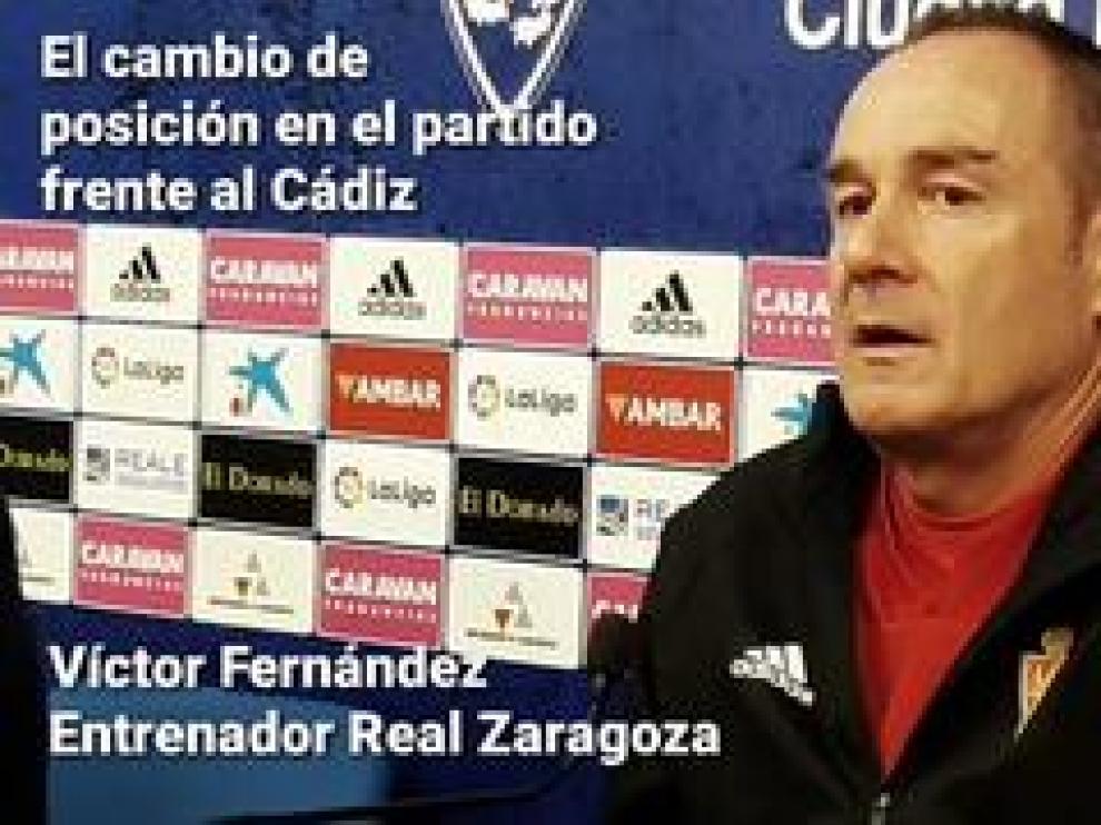 Víctor Fernández, entrenador del Real Zaragoza, habla sobre el cambio de táctica que usó en Cádiz, la importancia de los próximos tres puntos frente al Alcorcón y el plus que supone jugar en La Romareda.