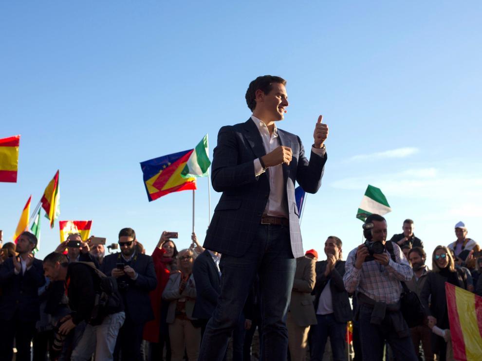 El líder de Ciudadanos, Albert Rivera, este viernes en un mitin de campaña en Málaga.