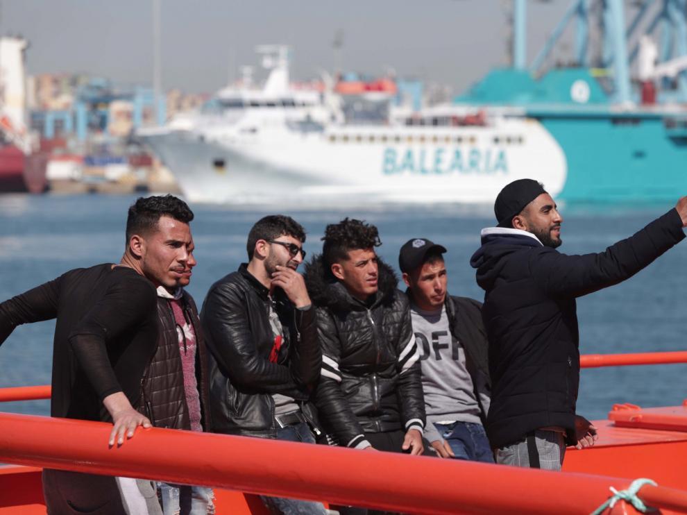Inmigrantes rescatados en el Mediterráneo este viernes