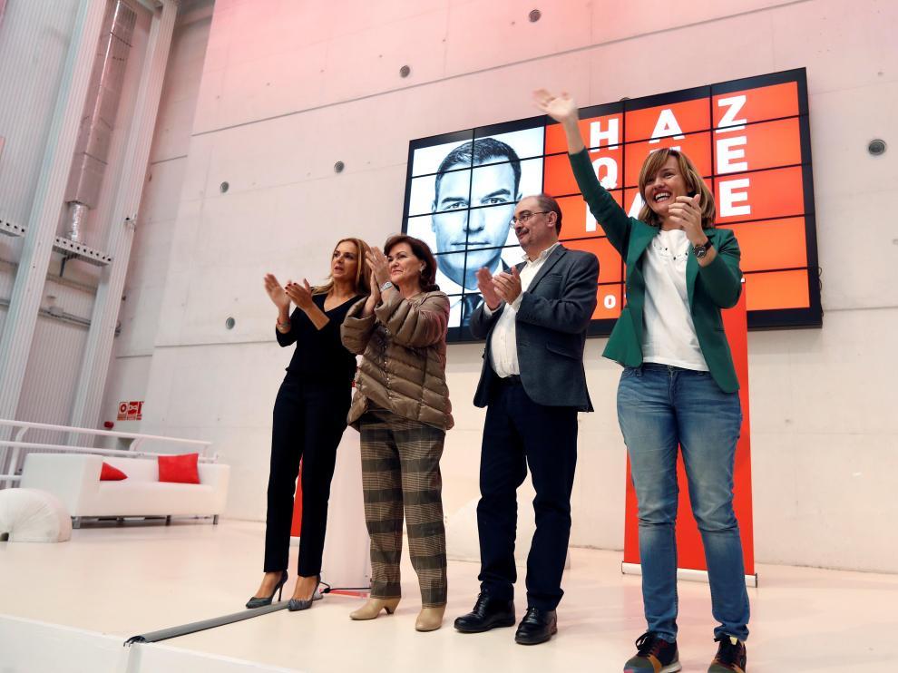 Lambán, Carmen Calvo, Susana Sumelzo y Pilar Alegría en un acto el edificio de Zaragoza Activa.
