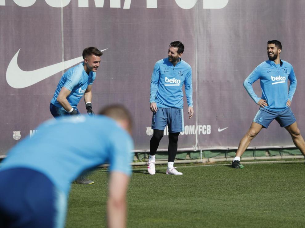 Messi, durante el entrenamiento de este viernes.
