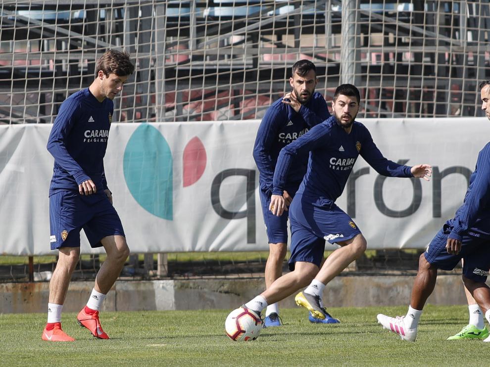 Papunashvili, en el entrenamiento del Real Zaragoza