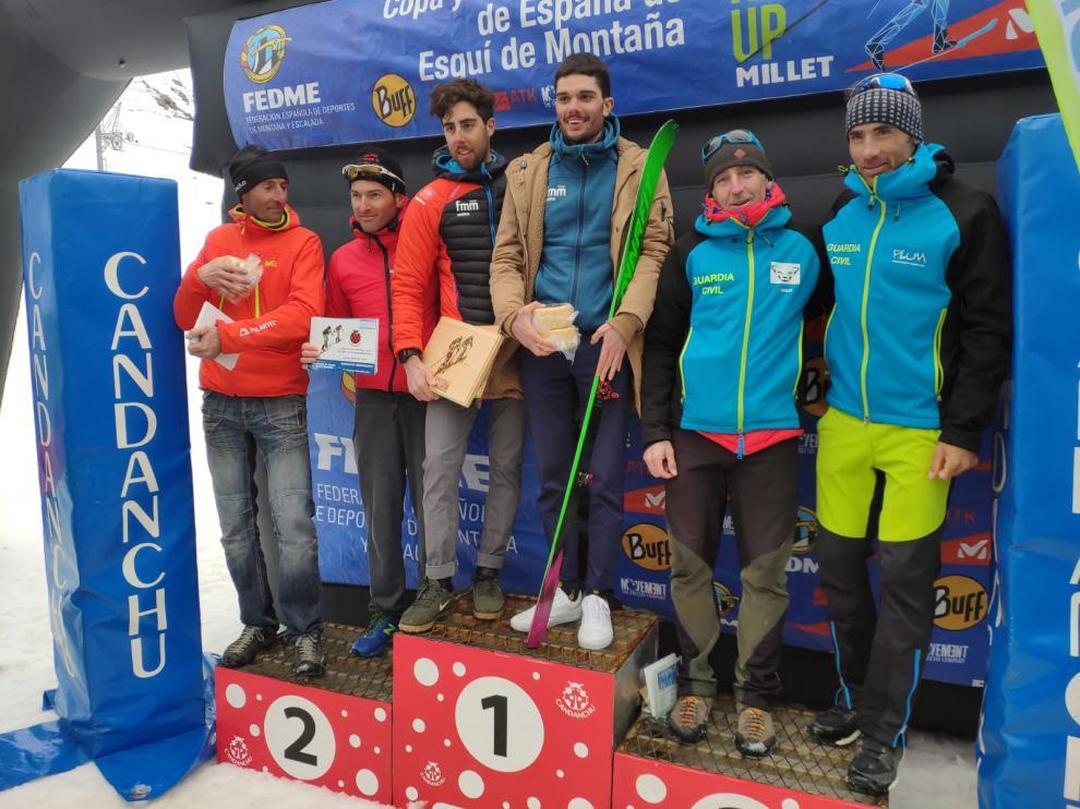 Podio masculino del Campeonato de España por equipos disputado en Candanchú.