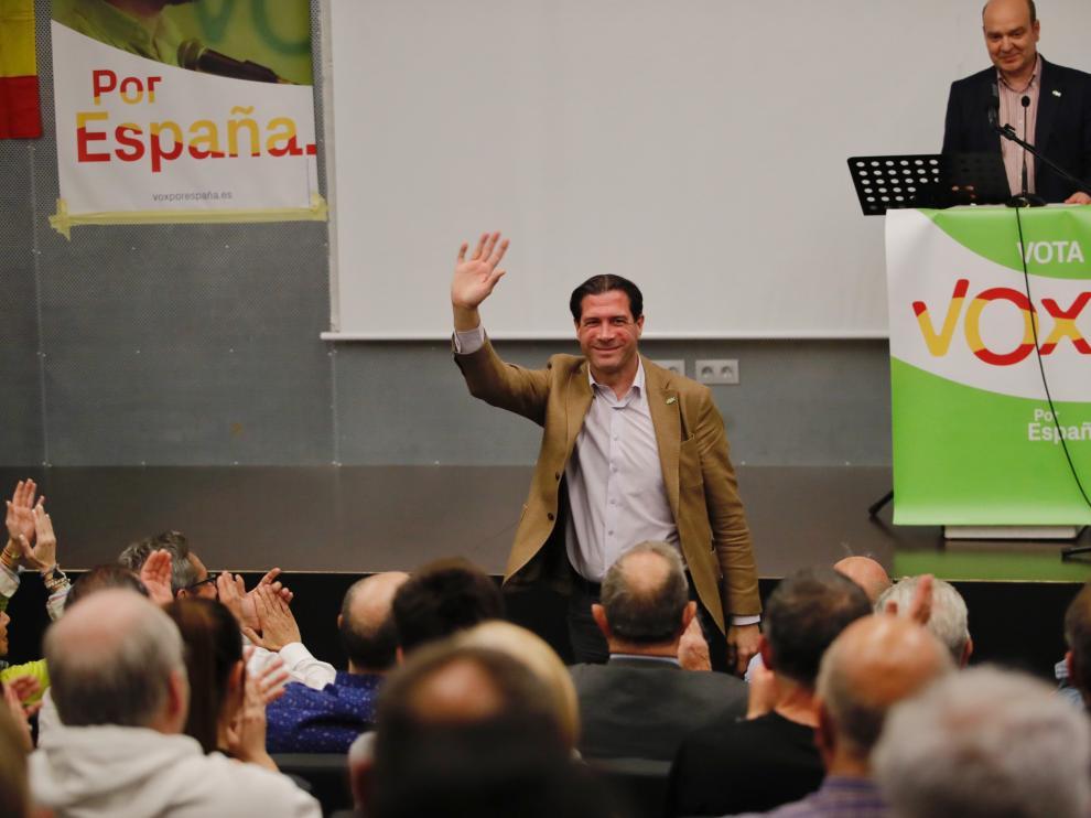 Pedro Fernández, en el mitin de Vox en Zaragoza
