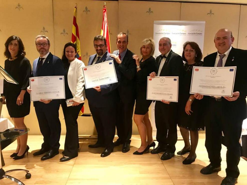 Algunos de los aragoneses premiados por la Asociación Europea de Economía y Competitividad (Aedeec).