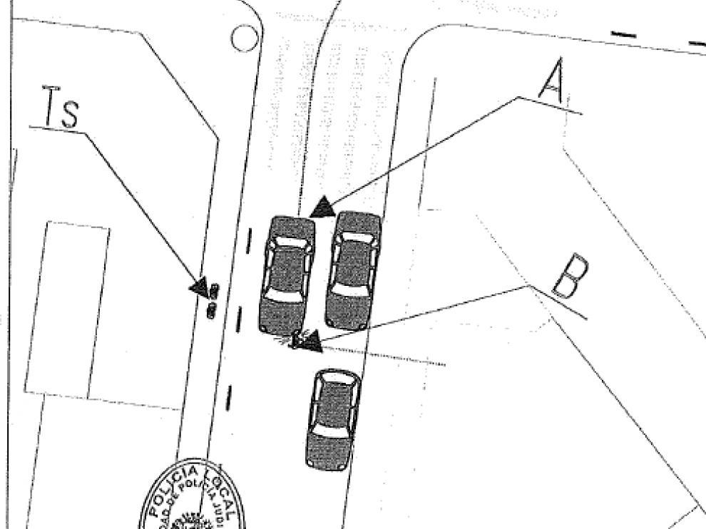 Croquis del atropello confeccionado por la Policía Local. El conductor (A) circulaba por la calle Osa Mayor y el niño (B) invadió la calzada tras colarse entre dos coches aparcados. Dos testigos (Ts) presenciaron el accidente.