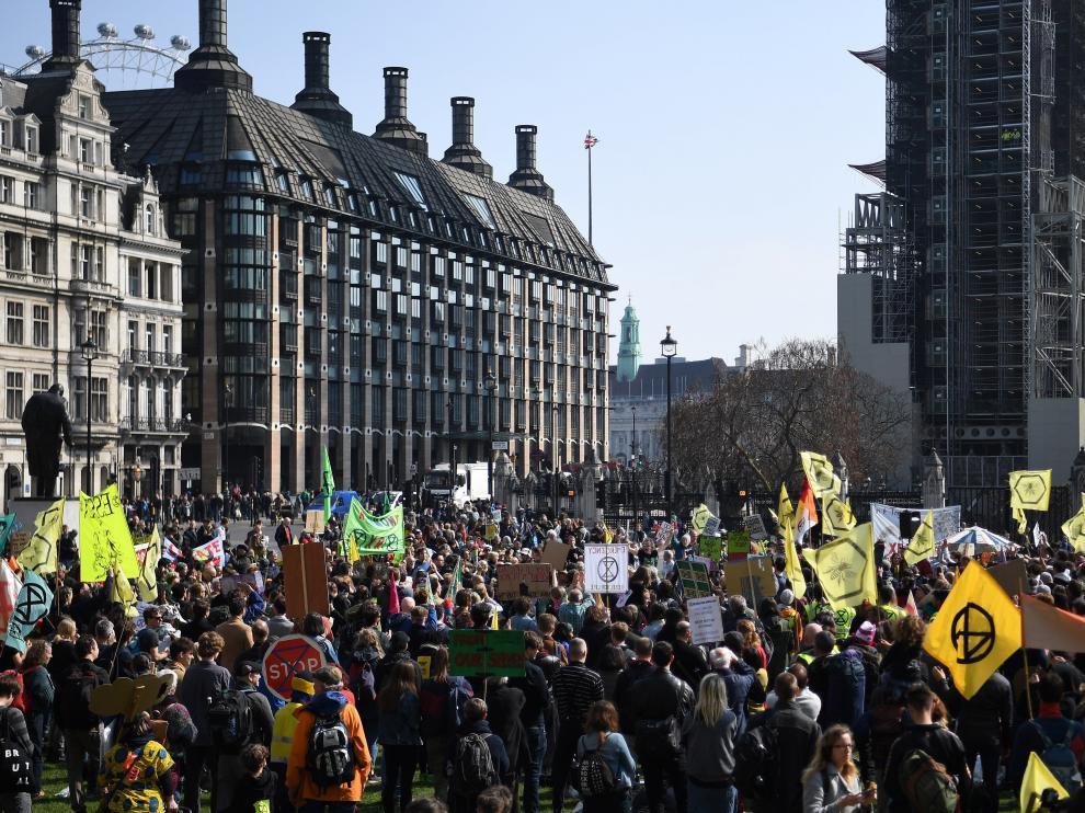Protesta contra el cambio climático, en Londres.