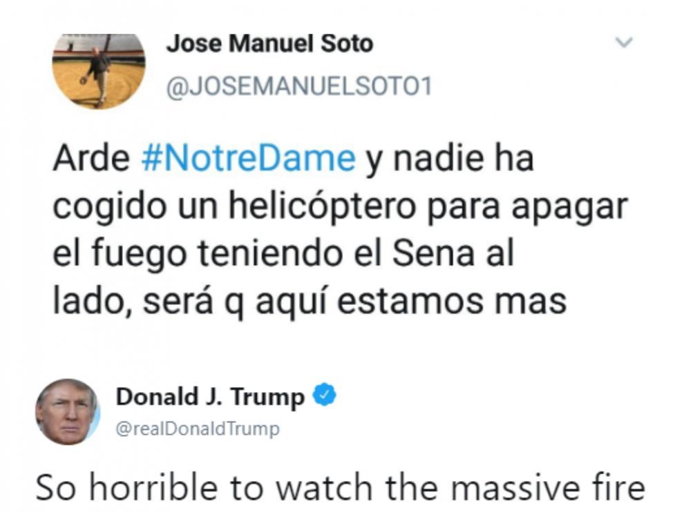 El tuit de José Manuel Soto sobre el incendio en Notre Dame y su conexión con Trump