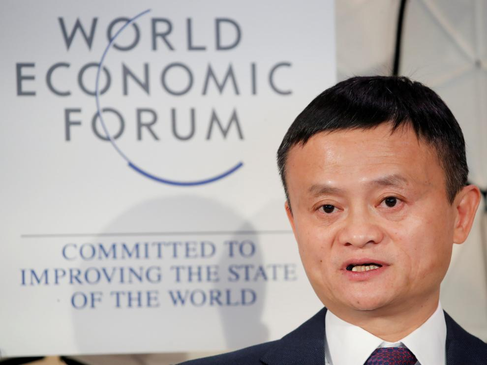 FILE PHOTO: Jack Ma, chairman of Alibaba Group attends the World Economic Forum (WEF) annual meeting in Davos, Switzerland, January 23, 2019. REUTERS/Arnd Wiegmann/File Photo [[[REUTERS VOCENTO]]] CHINA-TECH/LABOUR