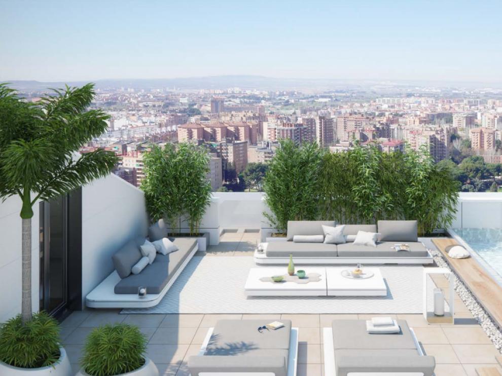 Las mejores vistas de la ciudad están en las terrazas de los áticos de Torre Zaragoza