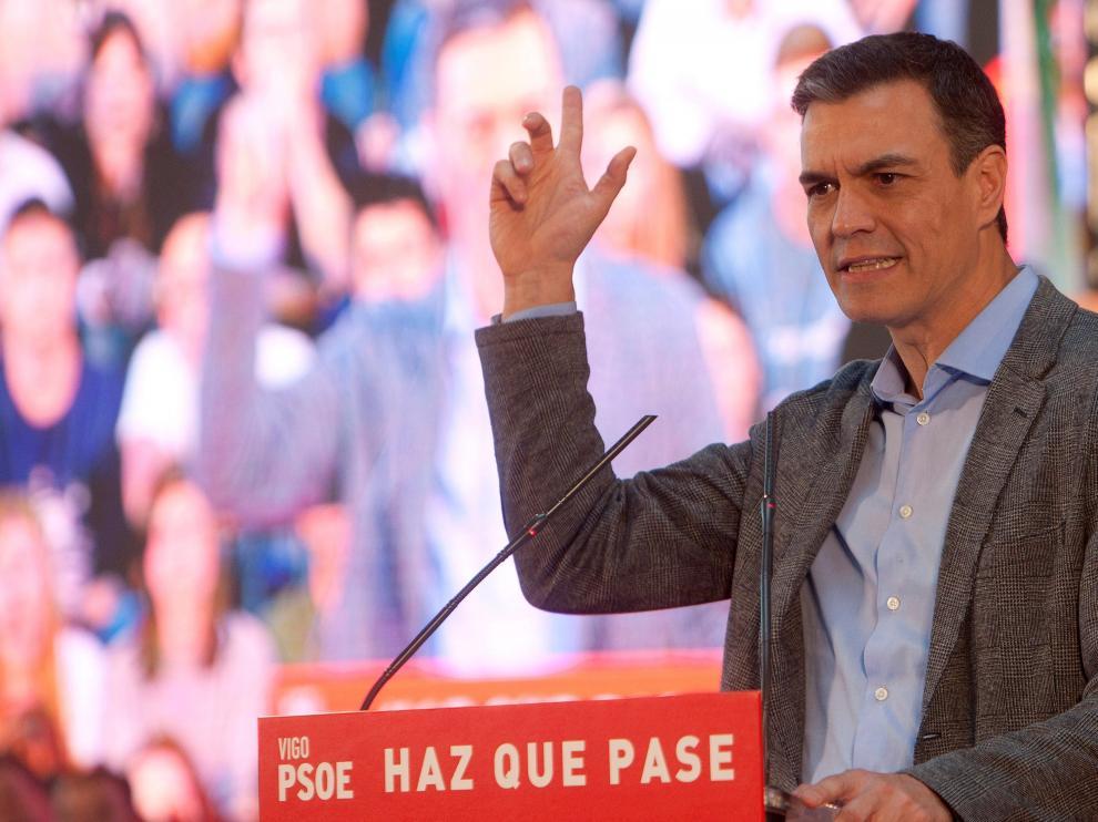 El presidente del Gobierno, Pedro Sánchez, en un acto en Vigo.