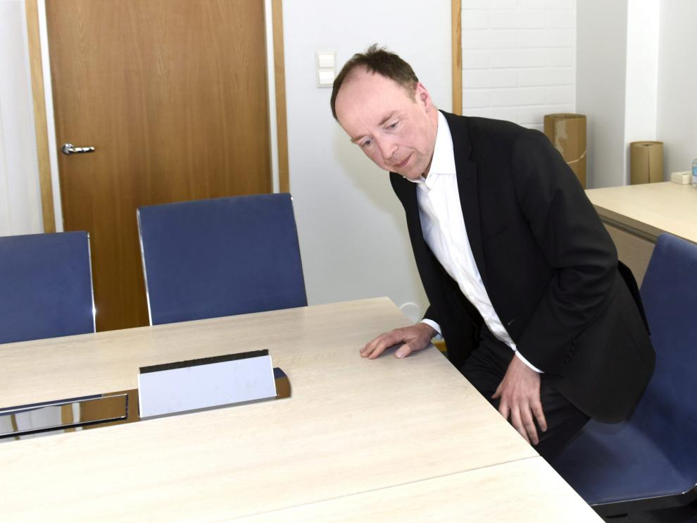 The Finns Party Chairman Jussi Halla-aho briefs media in Helsinki, Finland April 15, 2019. Lehtikuva/Heikki Saukkomaa via REUTERS ATTENTION EDITORS - THIS IMAGE WAS PROVIDED BY A THIRD PARTY. NO THIRD PARTY SALES. NOT FOR USE BY REUTERS THIRD PARTY DISTRIBUTORS. FINLAND OUT. [[[REUTERS VOCENTO]]] FINLAND-ELECTION/