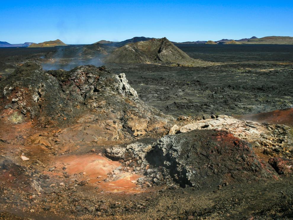 Restos de actividad volcánica reciente en Islandia