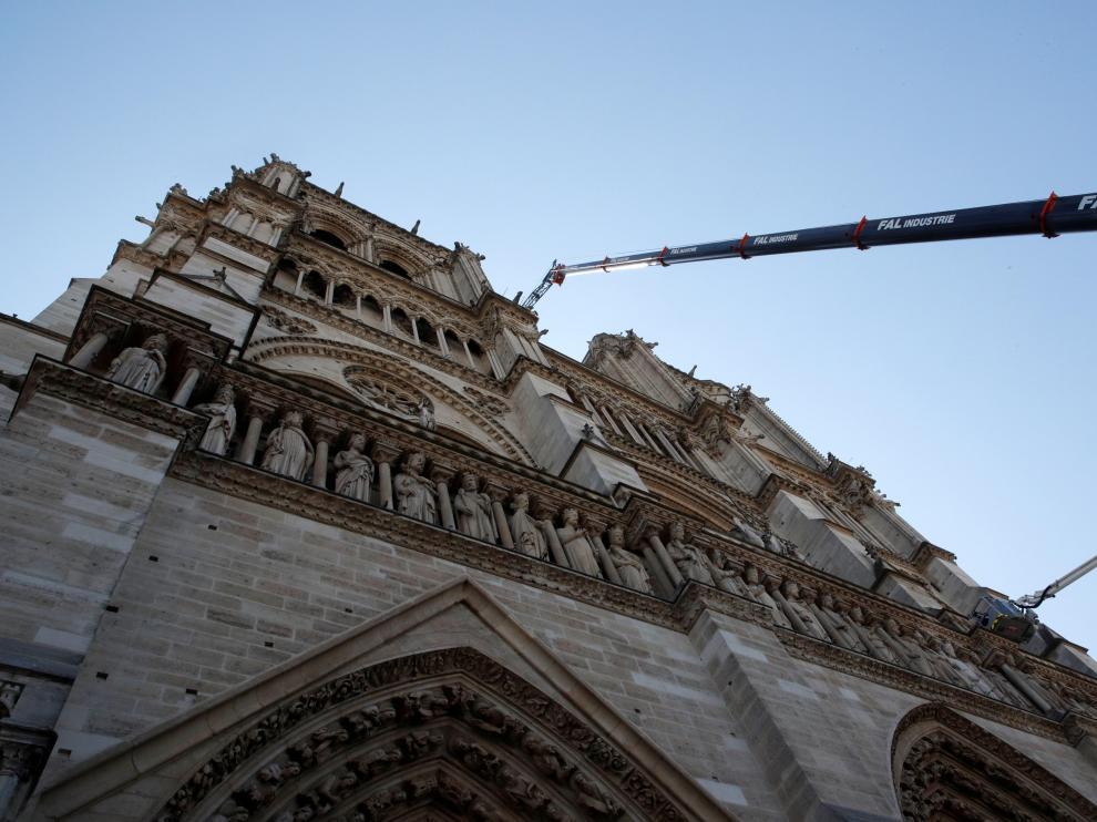 Trabajos en la fachada de la catedral