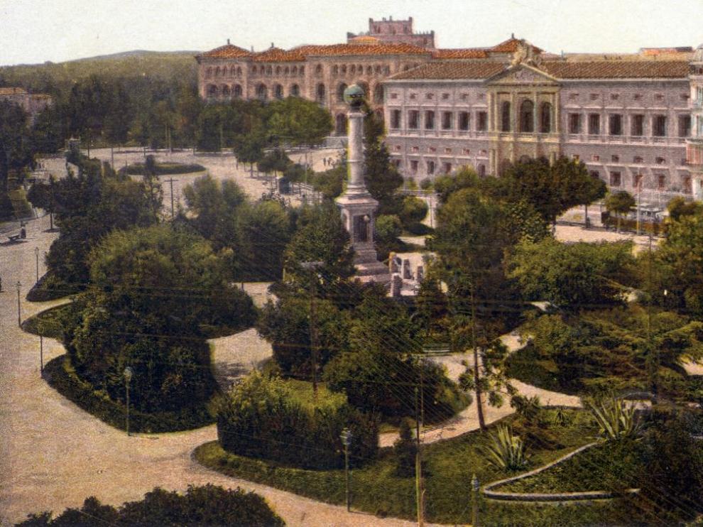 Postal plaza de Aragón en 1908