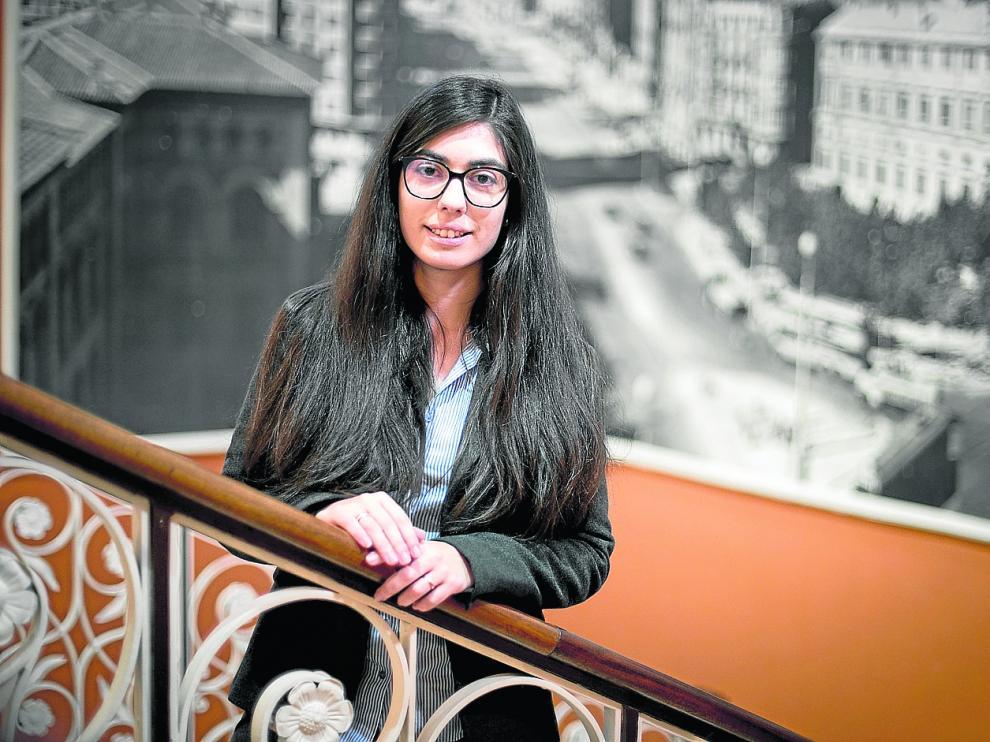 La economista Nereida González, en la Cámara de Comercio de Zaragoza, donde dio una conferencia sobre 'blockchain'.