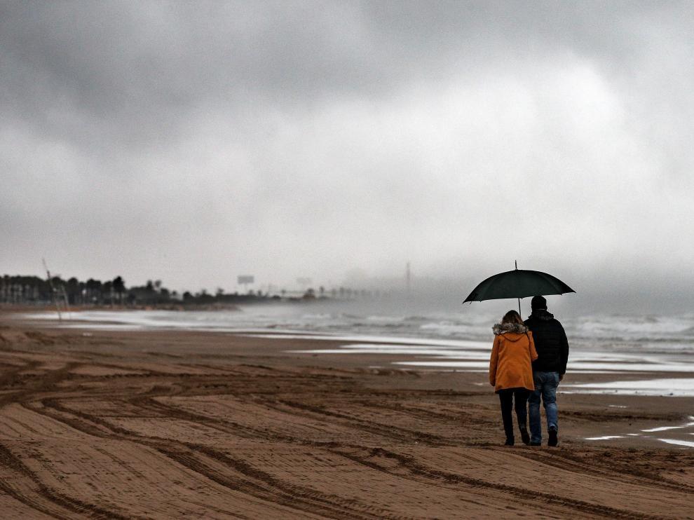 Alcudia de Veo (Castellón), durante el temporal.