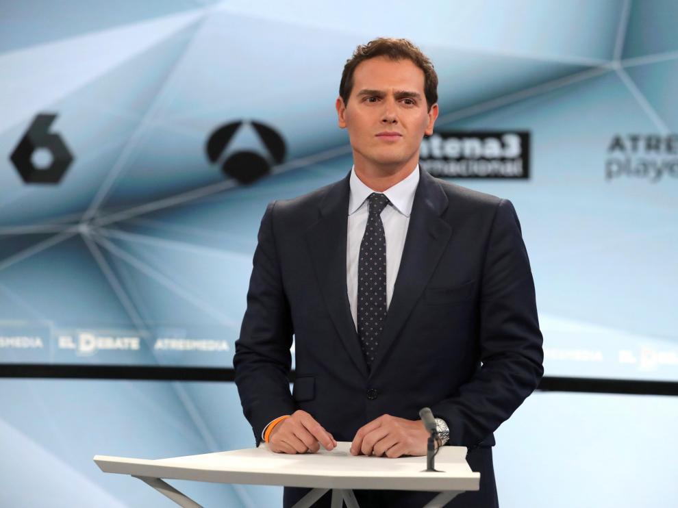 El líder de Ciudadanos, Albert Rivera, en el segundo debate electoral a cuatro de los candidatos a presidir el Gobierno de España tras las elecciones generales.