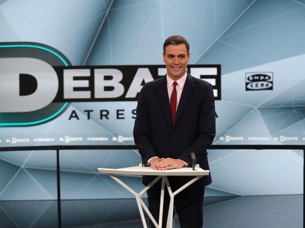 El líder del PSOE, Pedro Sánchez, en el debate de Atresmedia.