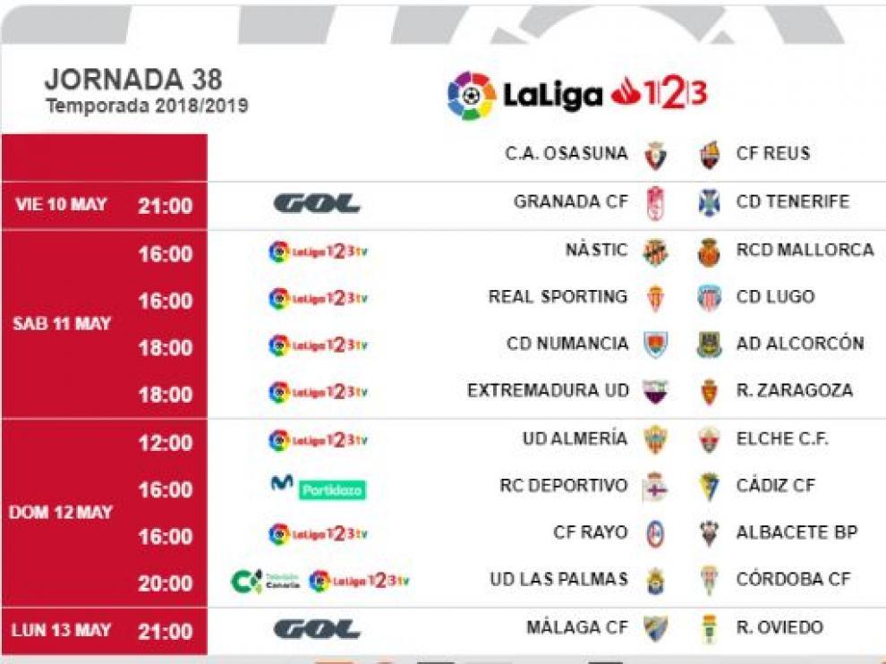 Horarios y fechas de los partidos de la 38ª jornada, con el Extremadura-Real Zaragoza ubicado en la tarde del sábado 11 de mayo.