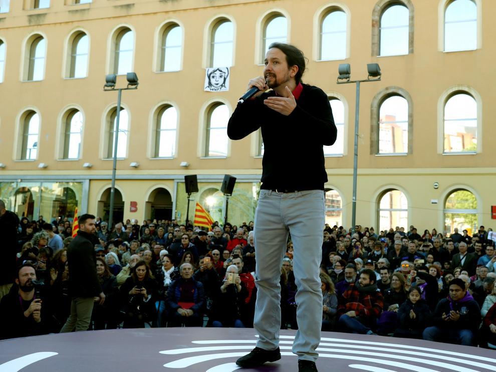 Pablo Iglesias, este miércoles en un mitin en Barcelona.