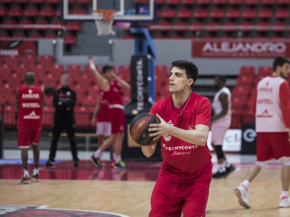 Carlos Alocén en el entrenamiento del miércoles.