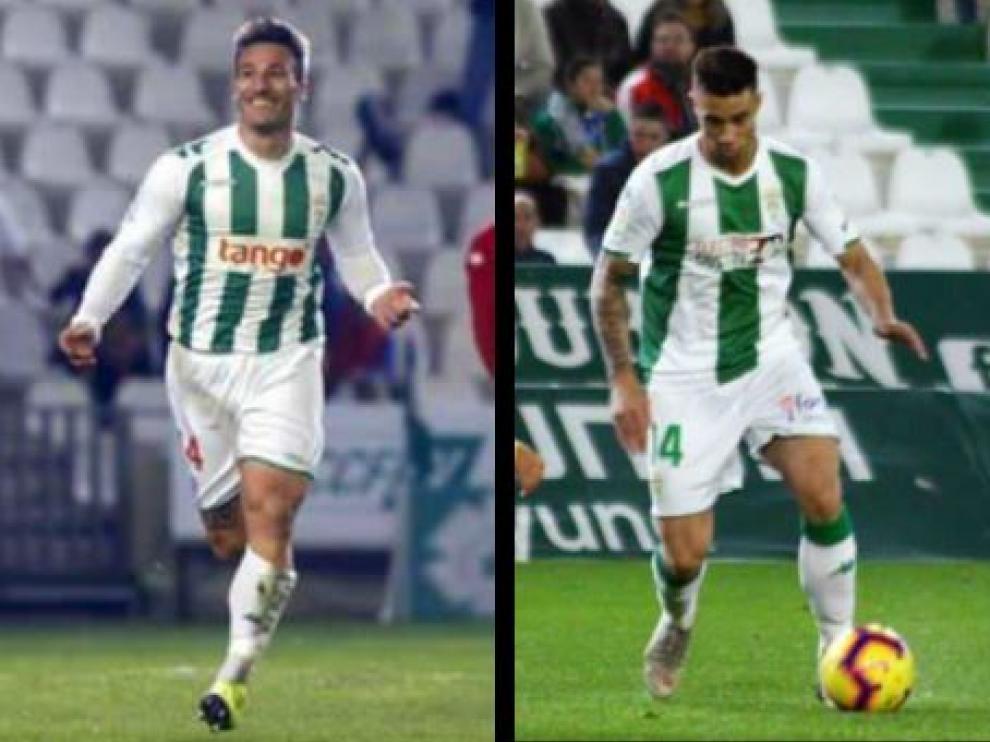 Piovaccari (izda.) y Jaime (dcha.), puntales ofensivos del Córdoba CF que estarán ausentes por lesión el domingo en la visita del Real Zaragoza a El Arcángel.
