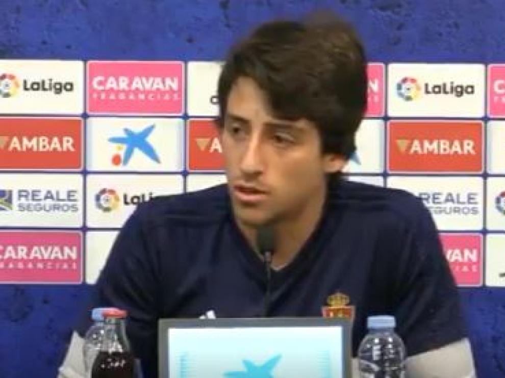 Julián Delmás, en la rueda de prensa de este jueves antes del entrenamiento.
