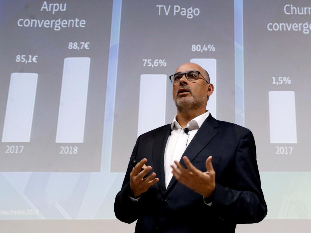 El presidente de Telefónica España, Emilio Gayo, presenta nuevas iniciativas de la compañía para los próximos menes.
