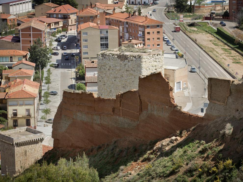 Tramo de la muralla de Daroca que ha sufrido el desprendimiento.