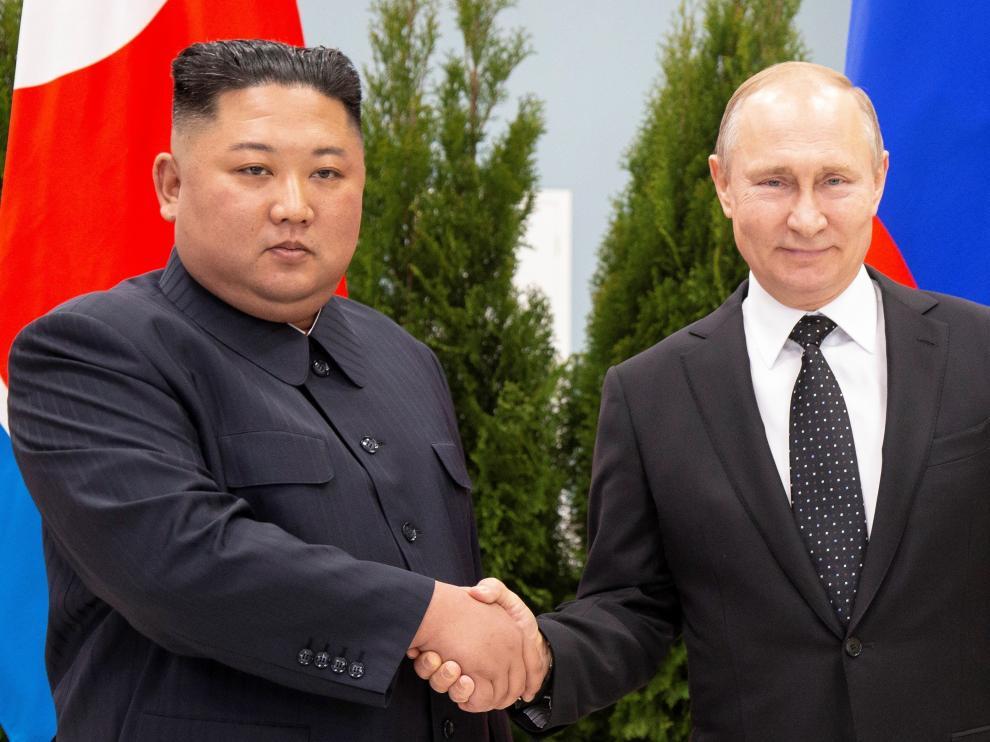 El líder norcoreano, Kim Jong-un, y el presidente de Rusia, Vladimir Putin.