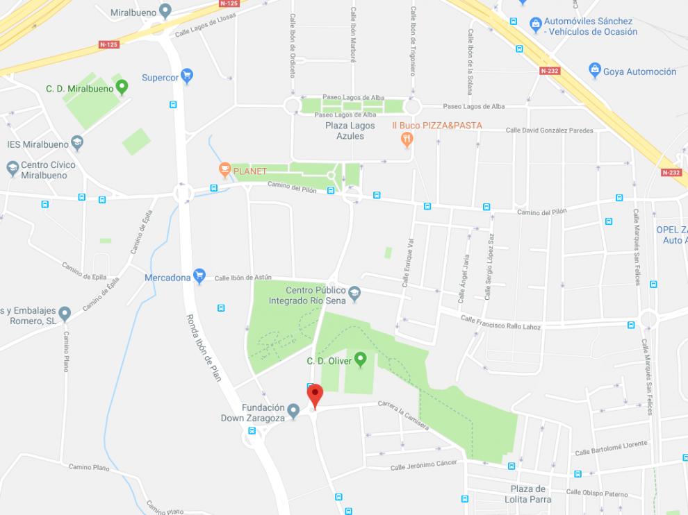 Algunos de los robos tuvieron lugar en la calle de Lagos de Coronas, en rojo, y en la Plaza de Lagos Azules, en la parte superior del mapa.