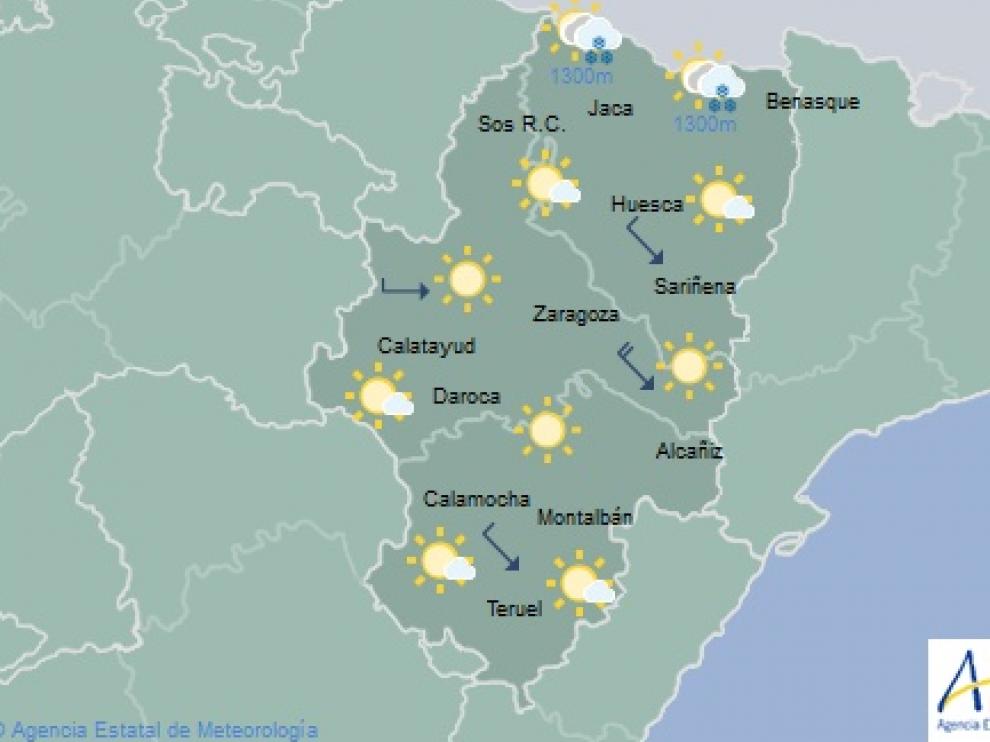 Las temperaturas mínimas para este viernes experimentarán un descenso con heladas débiles en puntos del Pirineo, y las máximas un ascenso en el tercio sur.