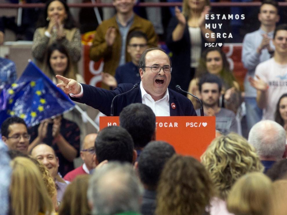 Iceta en un acto de campaña en Barcelona.