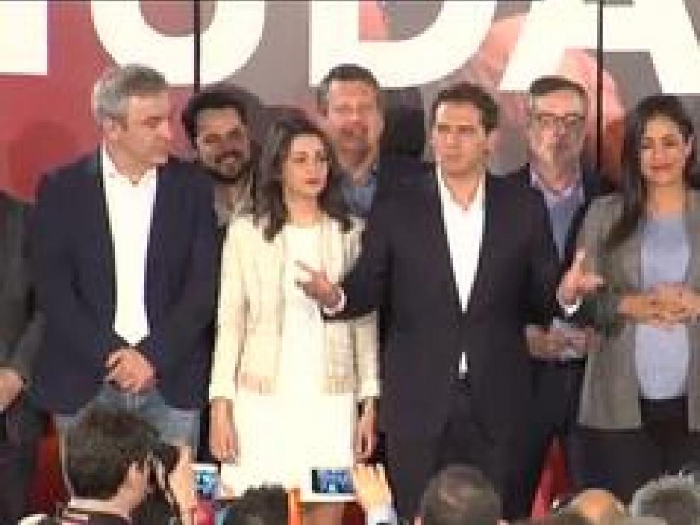 El presidente de Ciudadanos celebra los 57 escaños obtenidos en los comicios