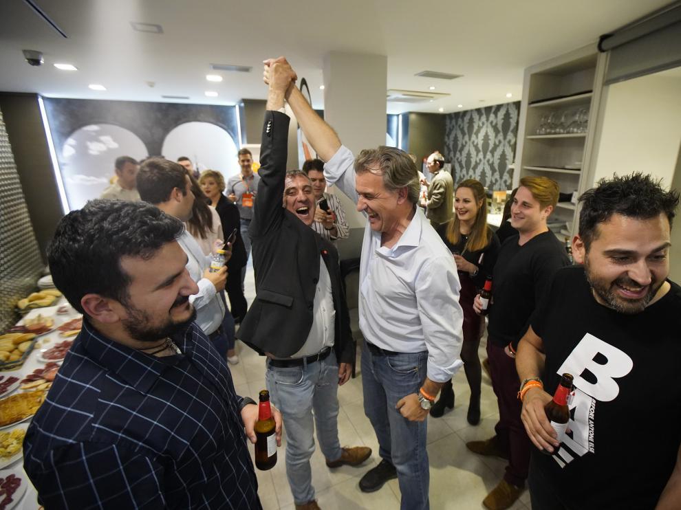 Celebracion de Ciudadanos por los resultados obtenidos en Teruel enlas elecciones generales. Foto Antonio Garcia/bykofoto. 28/04/19 [[[FOTOGRAFOS]]]